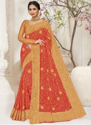 Orange Weaving Ceremonial Bollywood Saree