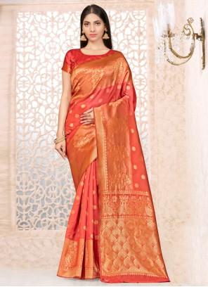 Orange Weaving Ceremonial Designer Traditional Saree