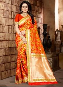 Orange Weaving Classic Designer Saree