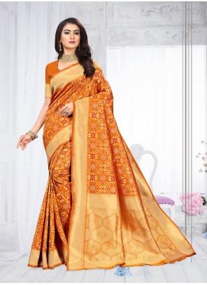Orange Weaving Classic Saree
