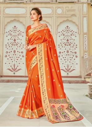 Orange Weaving Designer Saree