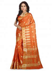 Orange Weaving Designer Traditional Saree