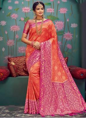 Orange Weaving Designer Traditional Saree