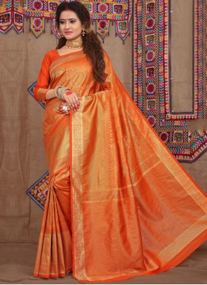 Orange Weaving Fancy Fabric Designer Traditional Saree