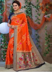 Orange Weaving Fancy Fabric Traditional Designer Saree