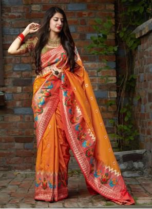 Orange Weaving Party Silk Saree