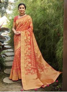 Orange Weaving Sangeet Designer Traditional Saree
