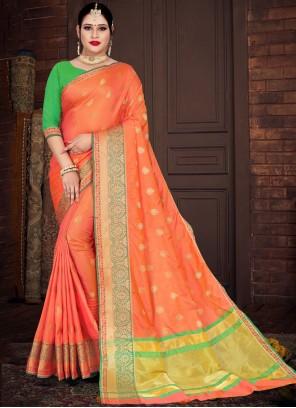 Orange Weaving Silk Casual Saree