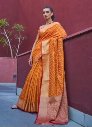 Orange Weaving Silk Designer Traditional Saree
