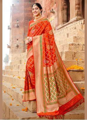 Orange Weaving Art Silk Saree