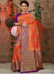 Orange Weaving Traditional Saree