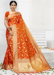 Orange Weaving Wedding Classic Saree