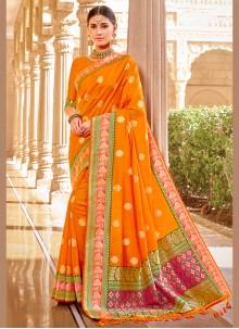 Orange Wedding Banarasi Silk Classic Saree
