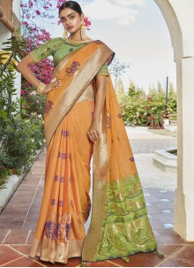 Orange Wedding Designer Saree