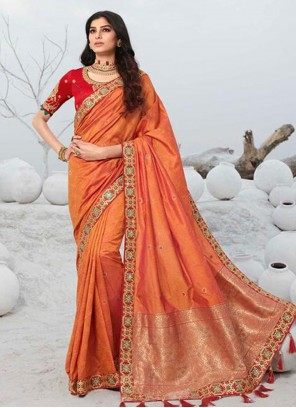 Orange Wedding Designer Saree