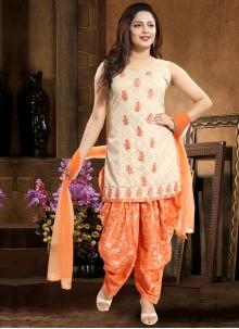 Orange Wedding Jacquard Punjabi Suit