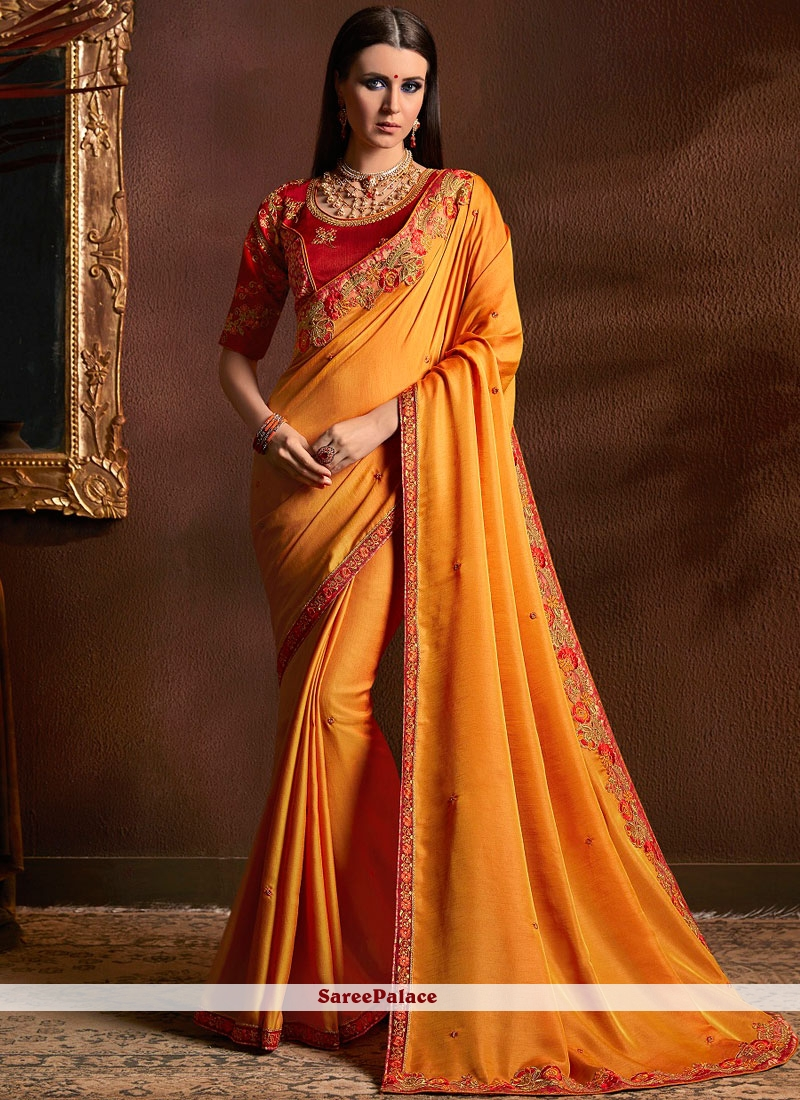Orange Wedding Traditional Designer Saree