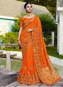 Orange Wedding Traditional Saree