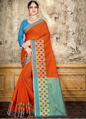 Orange Woven Cotton Classic Saree