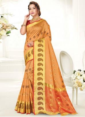 Orange Woven Handloom Cotton Traditional Saree
