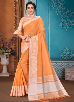 Orange Woven Reception Designer Traditional Saree