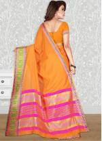 Orange woven Work Cotton Silk Traditional Designer Saree
