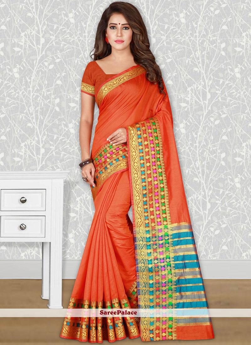 Orange woven Work Traditional  Saree