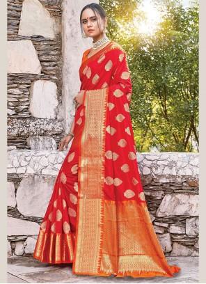 Orange Zari Art Silk Classic Designer Saree