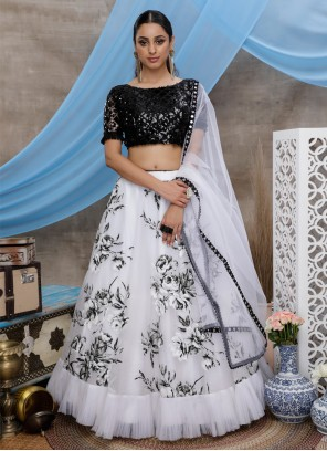 Organza Block Print Trendy Designer Lehenga Choli in White