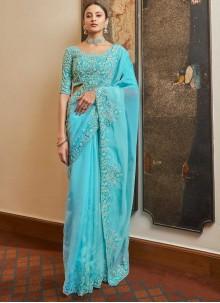 Organza Blue Resham Designer Traditional Saree