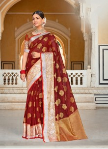 Organza Weaving Zari Rust Designer Saree