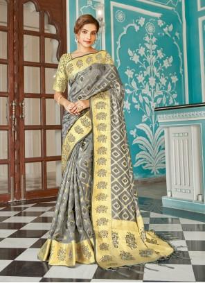 Organza Designer Traditional Saree in Grey