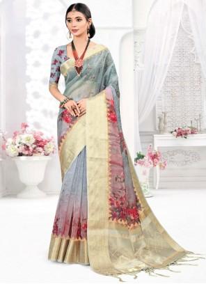 Organza Digital Print Designer Traditional Saree in Grey