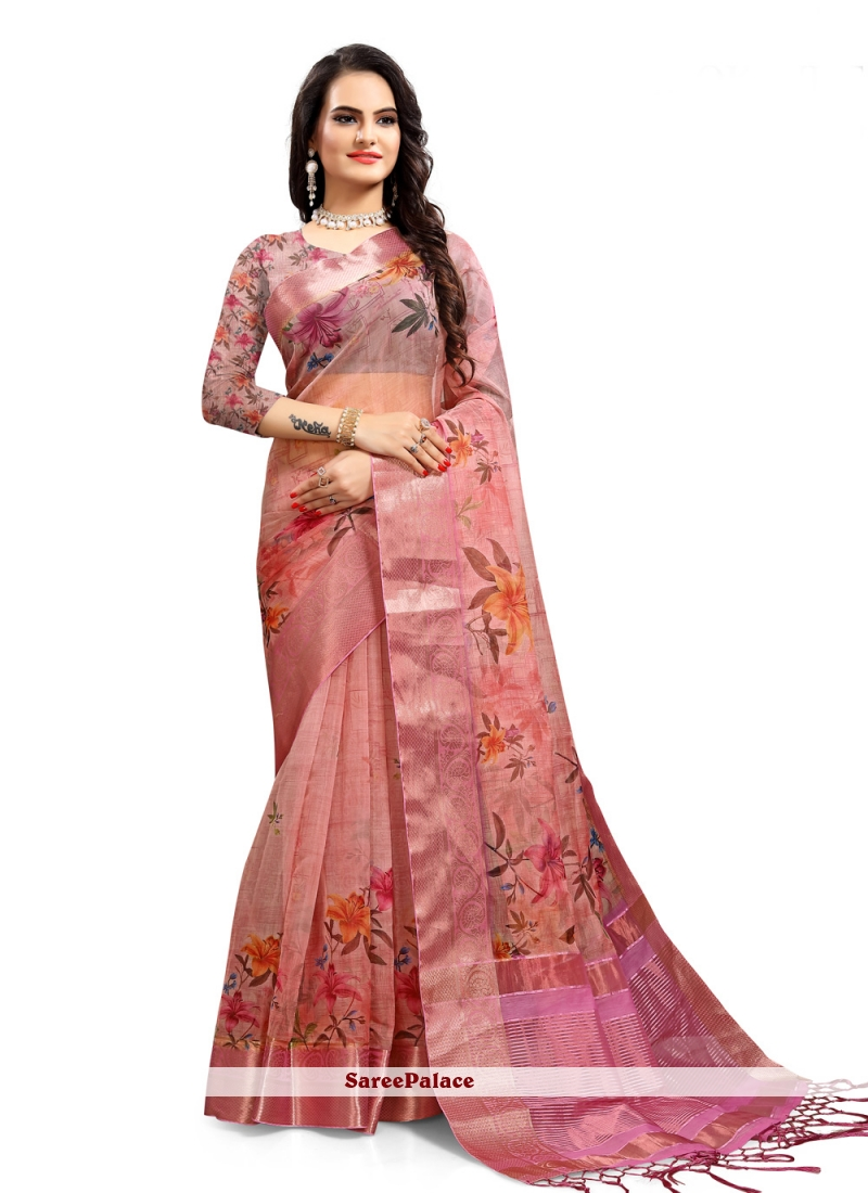 Organza Digital Print Saree in Pink