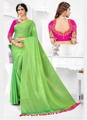 Organza Embroidered Classic Designer Saree in Green