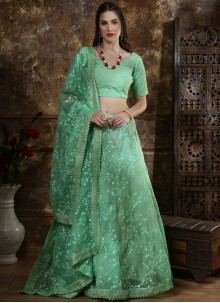 Organza Embroidered Lehenga Choli in Sea Green