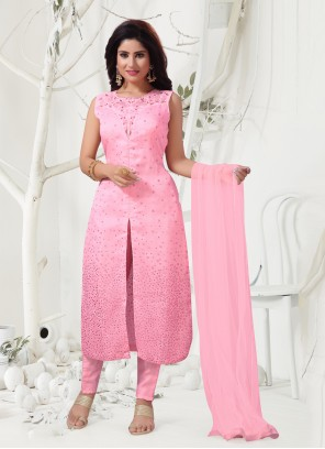 Organza Embroidered Pink Designer Salwar Suit