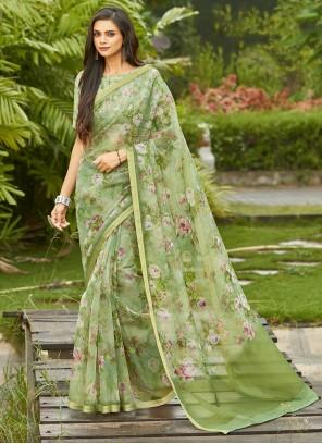 Organza Green Silk Printed Saree