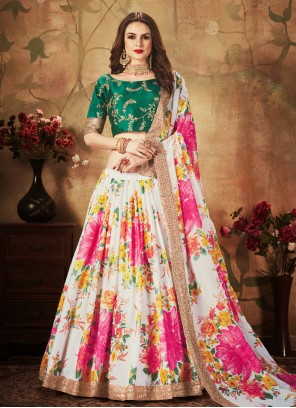 Organza Multi Colour Floral Print Lehenga Choli