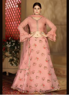 Organza Pink Fancy Readymade Lehenga Choli