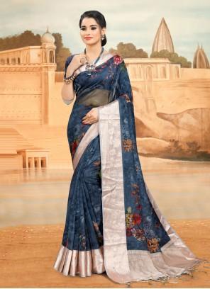 Organza Blue Printed Saree
