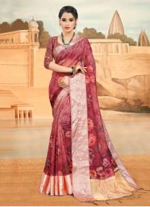 Pink Organza Printed Saree