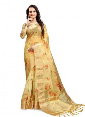 Organza Printed Saree in Yellow