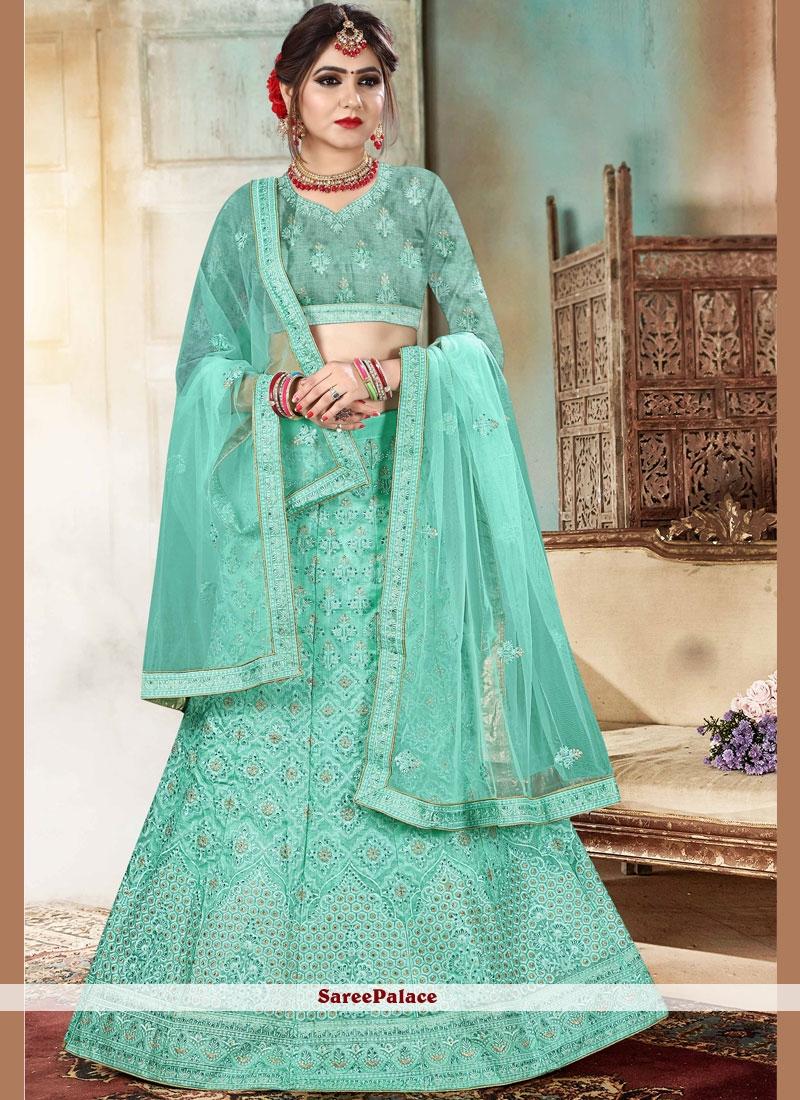 ab6fa33422 Buy Organza Resham Lehenga Choli in Sea Green Online