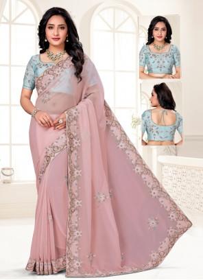 Organza Resham Pink Designer Saree