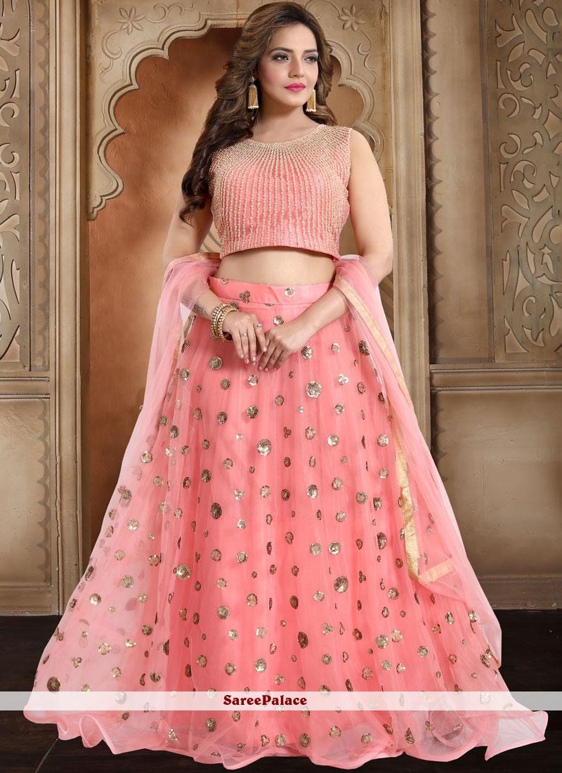 Organza Resham Pink Readymade Lehenga Choli