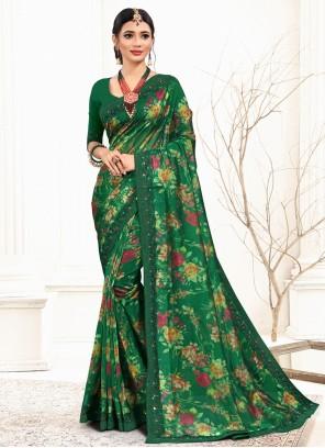 Organza Sequins Green Classic Saree