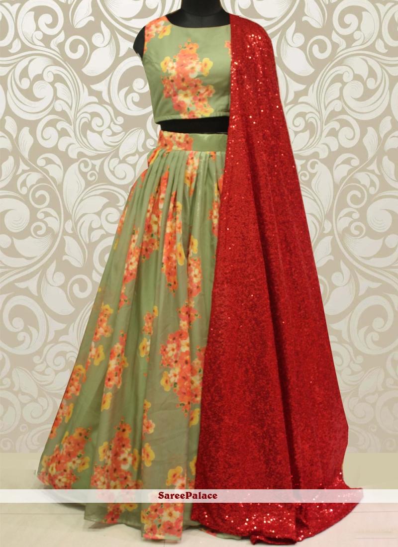 Multi Colour Organza Sequins Lehenga Choli