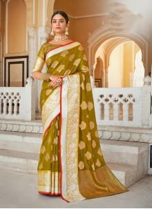 Green Organza Weaving Designer Saree