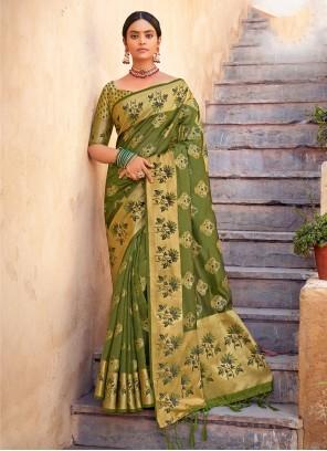 Organza Weaving Green Traditional Designer Saree